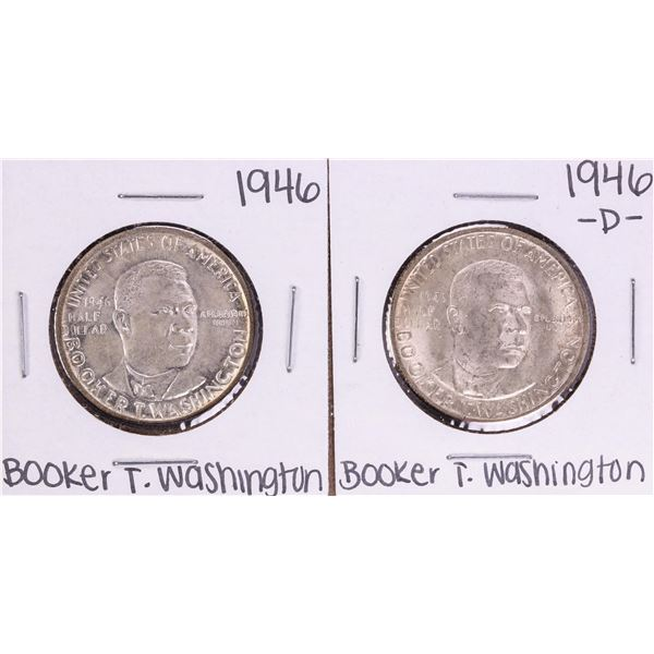 Lot of (2) 1946 & 1946-D Booker T Washington Commemorative Half Dollar Coins