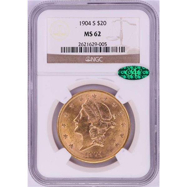 1904-S $20 Liberty Head Double Eagle Gold Coin NGC MS62 CAC
