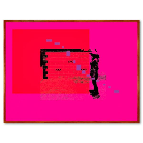 """Claudio Santini """"City Wall 1"""" Limited Edition Mixed Media on Canvas"""