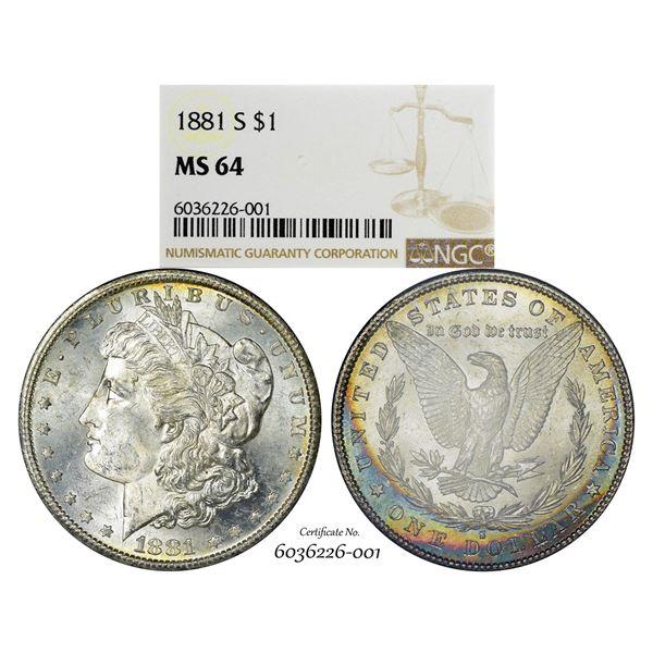 1881-S $1 Morgan Silver Dollar Coin NGC MS64 Amazing Toning