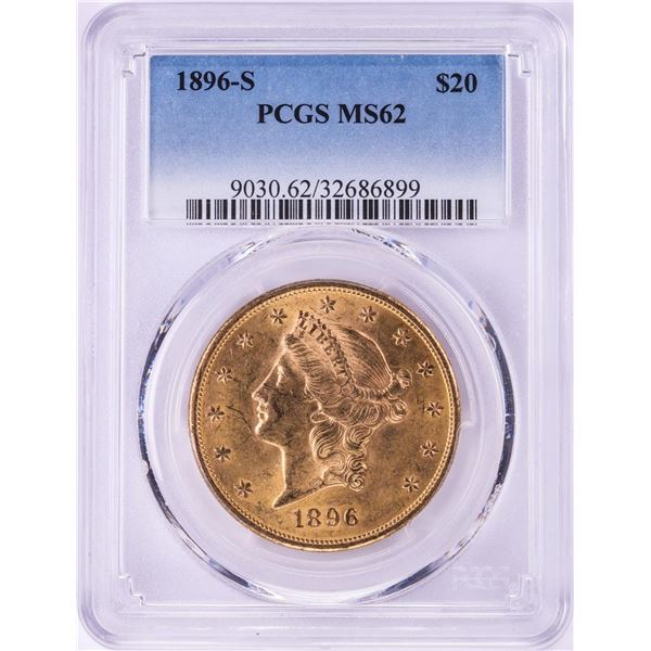 1896-S $20 Liberty Head Double Eagle Gold Coin PCGS MS62