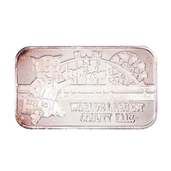 1980 L.A. County Fair Claremont, CA Limited Edition 1oz .999 Fine Silver Art Bar