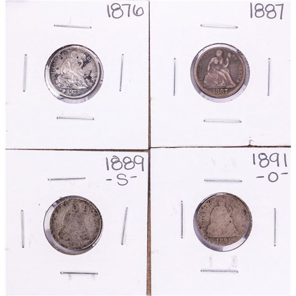 Lot of (4) Seated Liberty Dime Coins