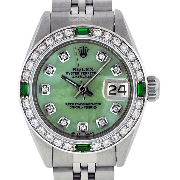 Rolex Ladies Stainless Steel Green Mother of Pearl Diamond Datejust Watch