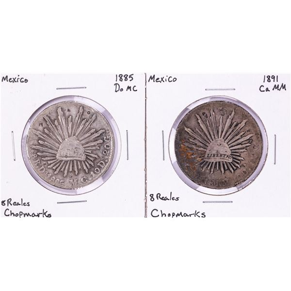 Lot of (2) Mexico 8 Reales Cap & Rays Silver Coins