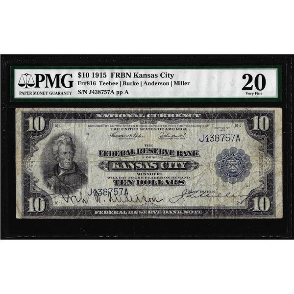 1915 $10 Federal Reserve Bank Note Kansas City Fr.816 PMG Very Fine 20