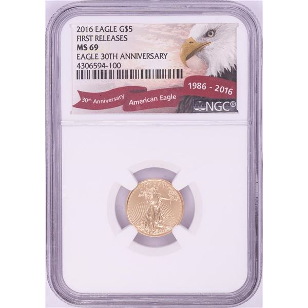 2016 $5 American Gold Eagle Coin NGC MS69 First Releases