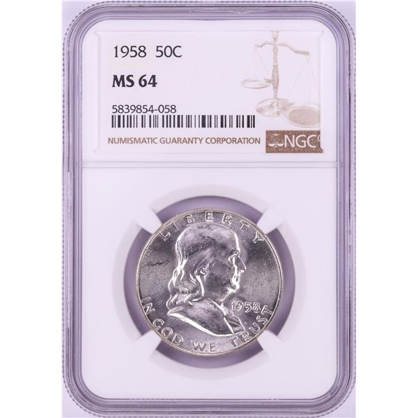 1958 Franklin Half Dollar Coin NGC MS64