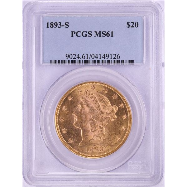 1893-S $20 Liberty Head Double Eagle Gold Coin PCGS MS61
