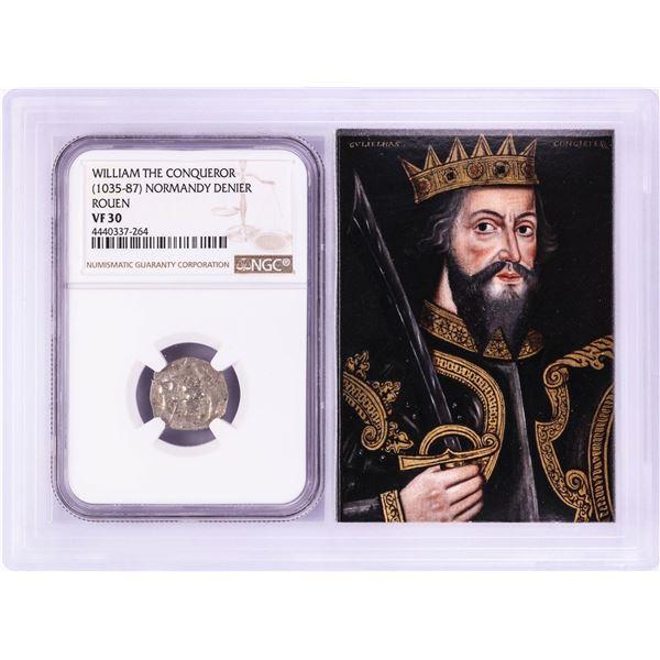 1035-87 William The Conqueror Normandy Rouen Denier Coin NGC VF30 w/ Story Box