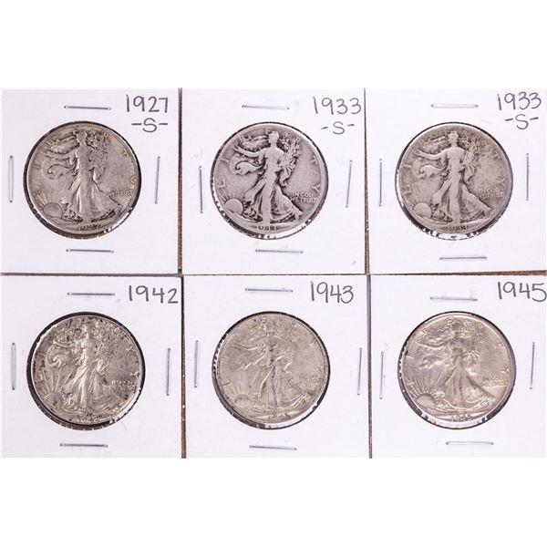 Lot of (6) Walking Liberty Half Dollar Coins