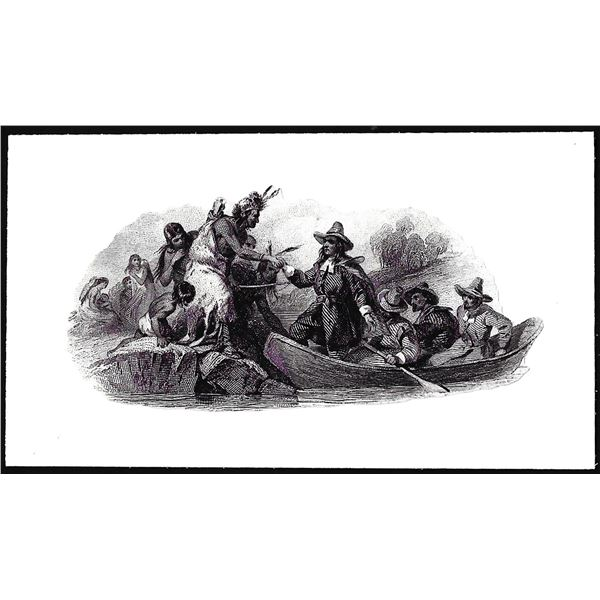 Untitled Native Americans and the Landing of the Pilgrims Vignette