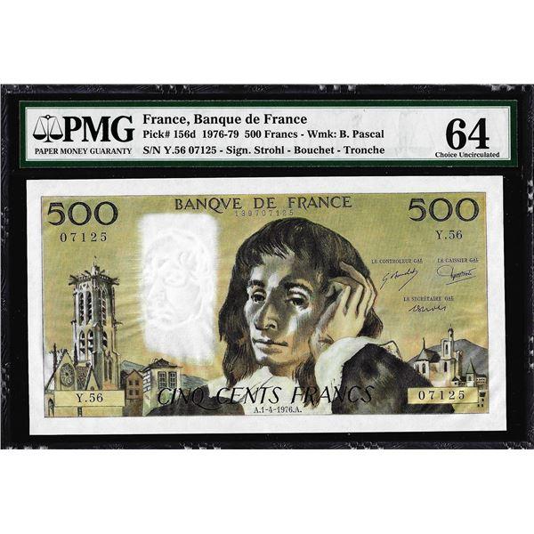 1976-1979 France Banque de France 500 Francs Note Pick# 156d PMG Choice Uncirculated 64