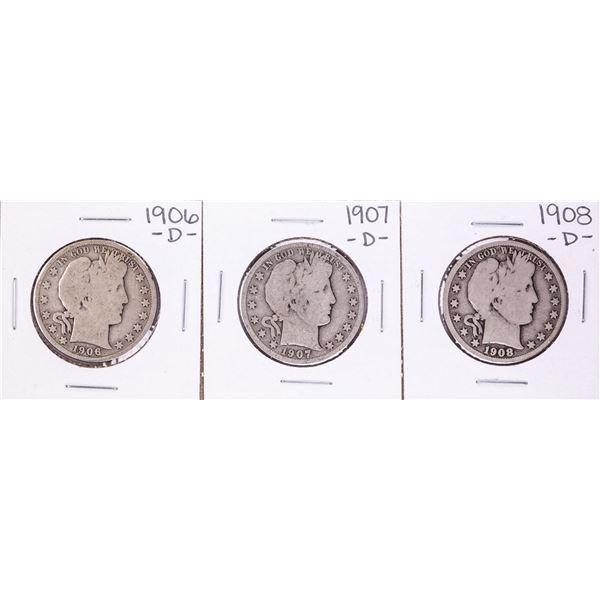 Lot of 1906-D to 1908-D Barber Half Dollar Coins