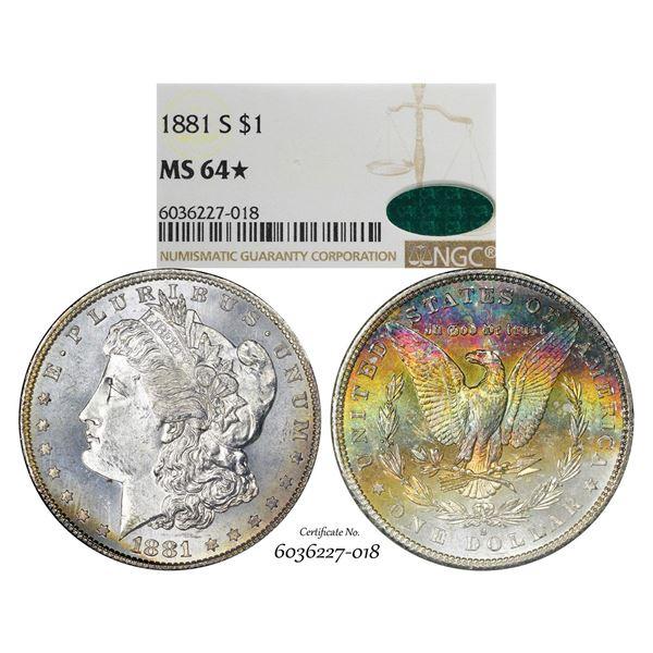 1881-S $1 Morgan Silver Dollar Coin NGC MS64* Star CAC Amazing Toning