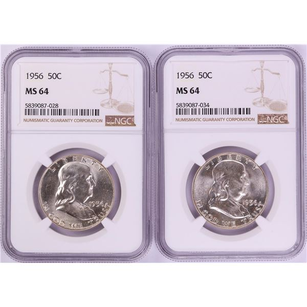 Lot of (2) 1956 Franklin Half Dollar Coins NGC MS64