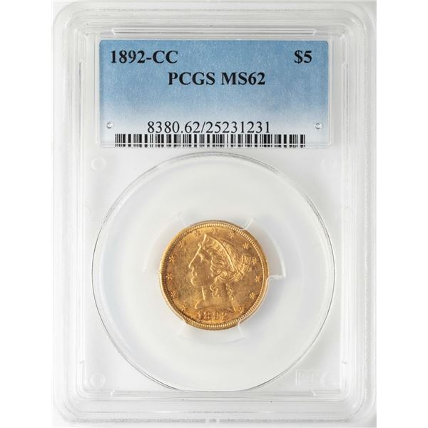 1892-CC $5 Liberty Head Half Eagle Gold Coin PCGS MS62