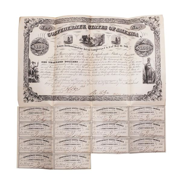1861 $1,000 Confederate Bond Obsolete Sheet B-25