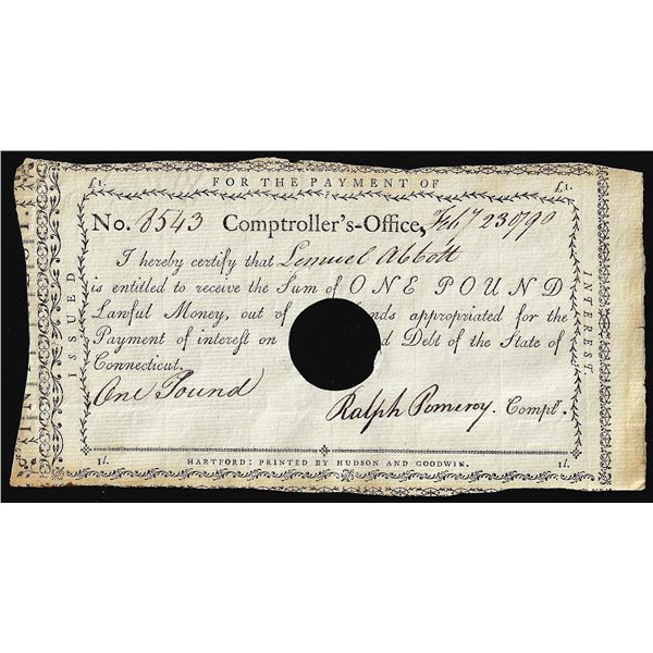 February 23, 1790 State of Connecticut Interest Certificate Colonial Note