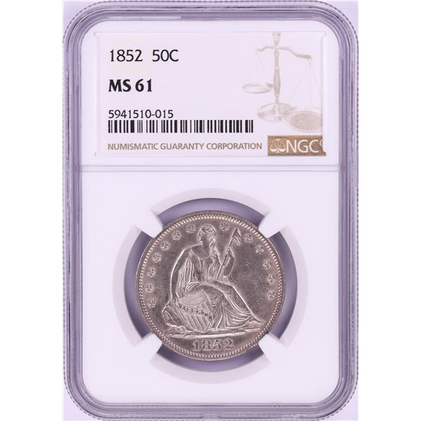 1852 Seated Liberty Half Dollar Coin NGC MS61