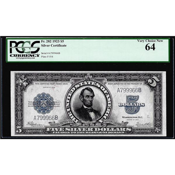 1923 $5 Porthole Silver Certificate Note Fr.282 PCGS Very Choice New 64