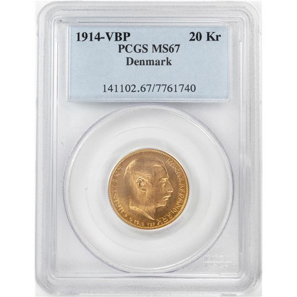 1914-VBP Denmark 20 Kroners Gold Coin PCGS MS67