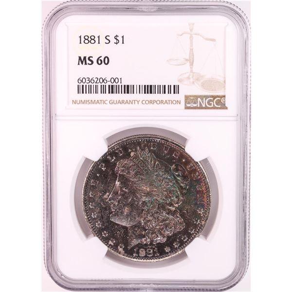 1881-S $1 Morgan Silver Dollar Coin NGC MS60 Great Toning