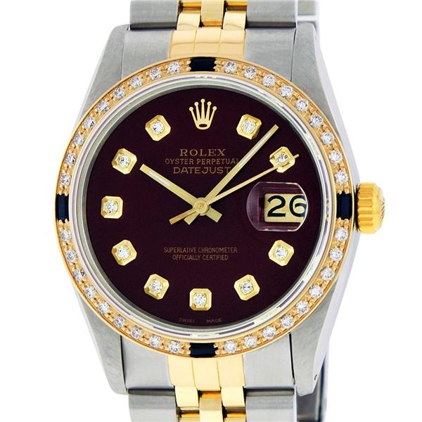 Rolex Mens Two Tone Maroon VS Diamond & Sapphire Datejust Wriswatch
