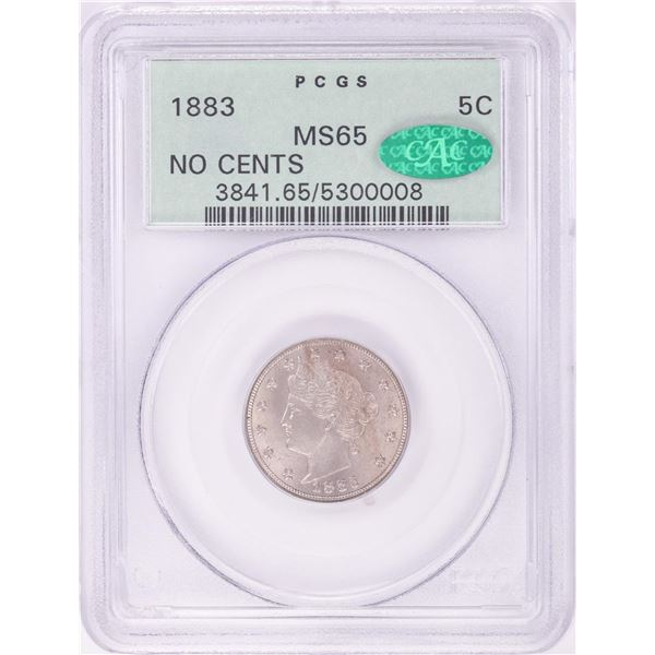 1883 No Cents Liberty V Nickel Coin PCGS MS65 CAC Old Green Holder