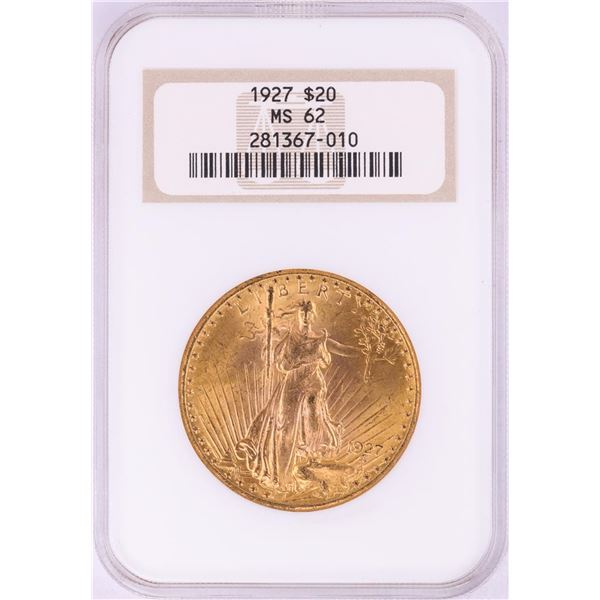 1927 $20 St. Gaudens Double Eagle Gold Coin NGC MS62