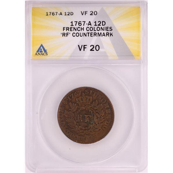 1767-A French Colonies 12 Deniers Coin ANACS VF20 'RF' Countermark