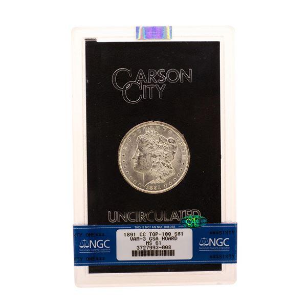 1891-CC Top-100 VAM-3 $1 Morgan Silver Dollar Coin Uncirculated GSA NGC MS61 CAC