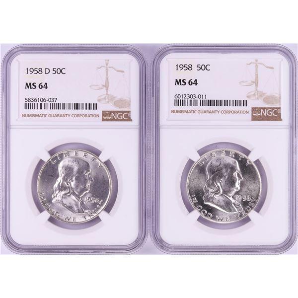Lot of 1958 & 1958-D Franklin Half Dollar Coins NGC MS64