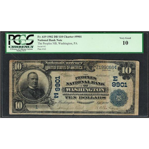 Serial # 1 1902 DB $10 Washington, PA CH# 9901 National Currency Note PCGS Very Good 10