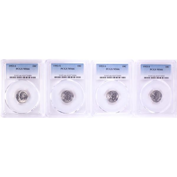 Lot of (4) 1953-S Roosevelt Dime Coins PCGS MS66