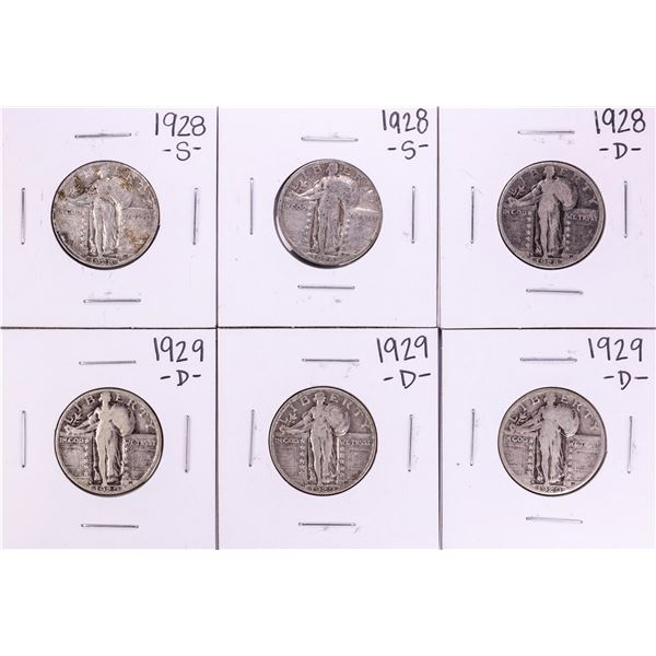 Lot of (6) 1928-1929 Standing Liberty Quarter Coins
