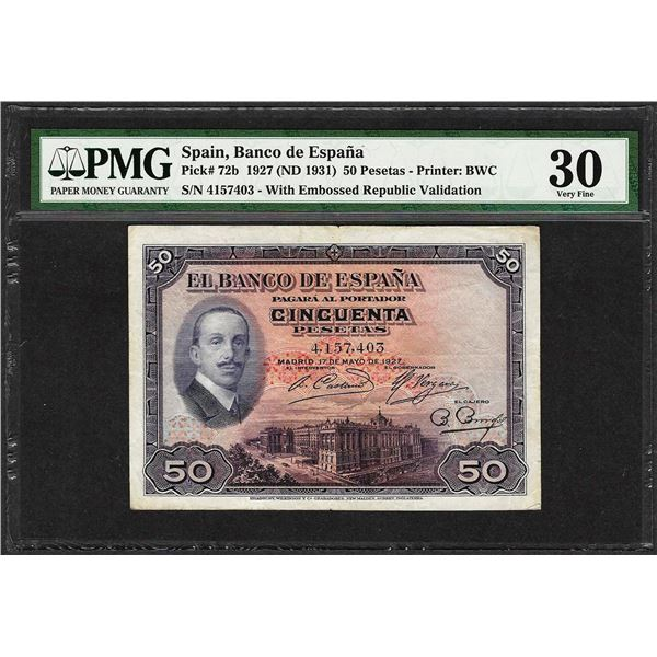 1927 Spain Banco de Espana 50 Pesetas Note Pick# 72b PMG Very Fine 30