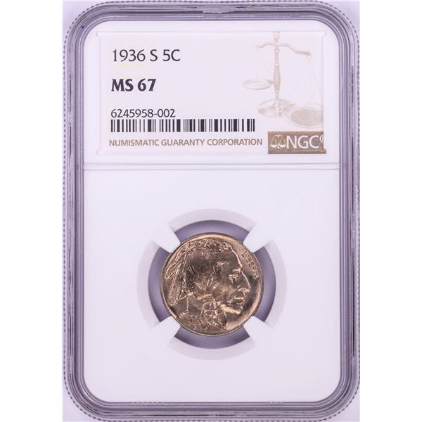 1936-S Buffalo Nickel Coin NGC MS67