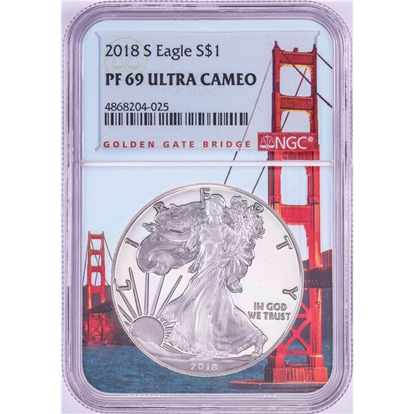 2018-S $1 Proof American Silver Eagle Coin NGC PF69 Ultra Cameo Bridge Core