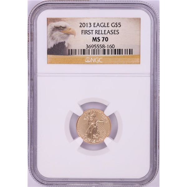 2013 $5 American Gold Eagle Coin NGC MS70 First Releases