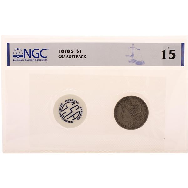 1878-S $1 Morgan Silver Dollar Coin GSA Soft Pack NGC F15