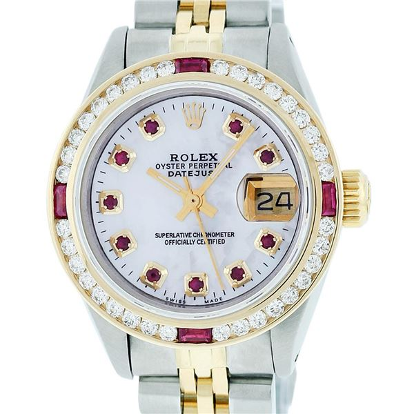 Rolex Ladies Two Tone MOP Ruby & Diamond Oyster Perpetual Datejust Wristwatch