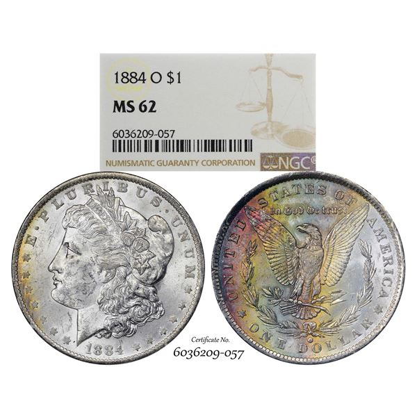 1884-O $1 Morgan Silver Dollar Coin NGC MS62 Great Toning