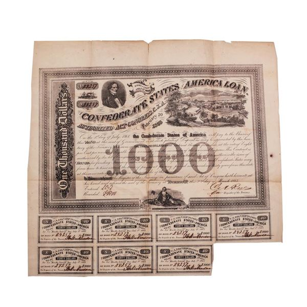 1863 $1,000 Confederate Bond Obsolete Sheet B-134