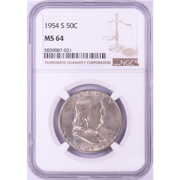 1954-S Franklin Half Dollar Coin NGC MS64