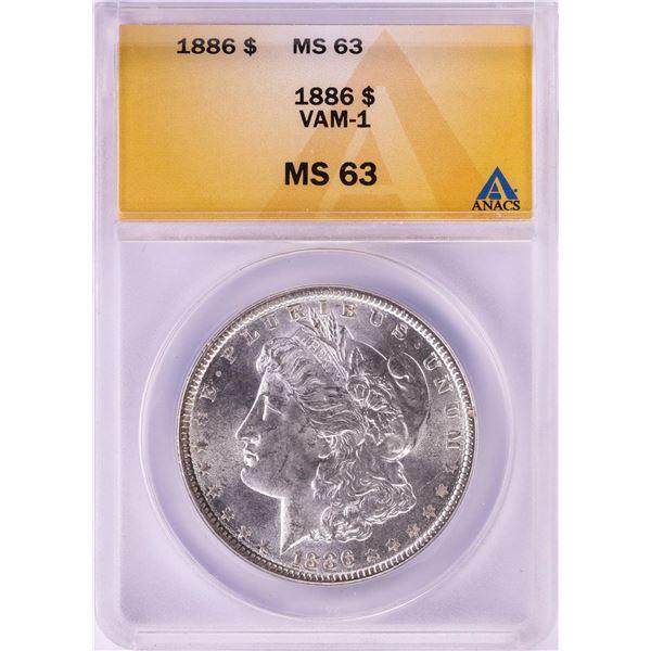 1886 VAM-1 $1 Morgan Silver Dollar Coin ANACS MS63