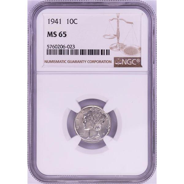 1941 Mercury Dime Coin NGC MS65