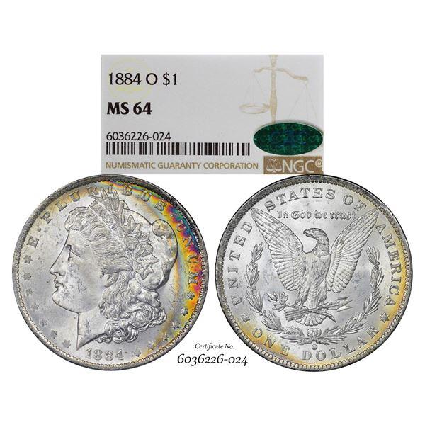 1884-O $1 Morgan Silver Dollar Coin NGC MS64 CAC Amazing Toning