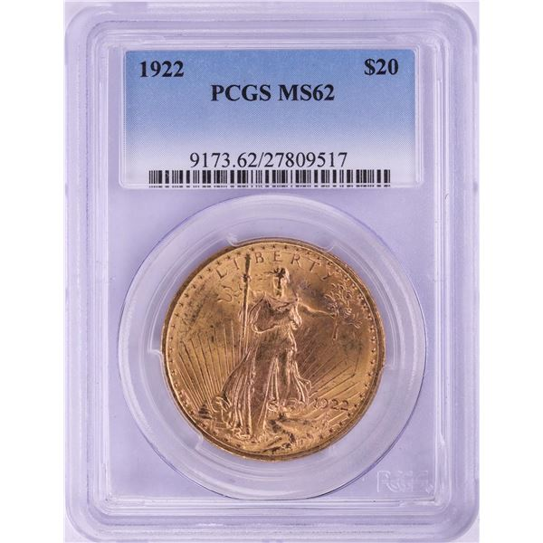 1922 $20 St. Gaudens Double Eagle Gold Coin PCGS MS62