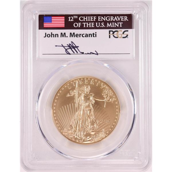 2016-W $50 Burnished American Gold Eagle Coin PCGS SP70 John Mercanti Signature